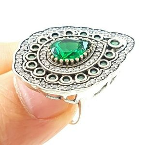 Turkish Traditional .925 Handmade Emerald Ring Sz9